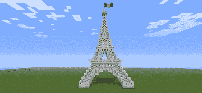 Building the Eiffel Tower in Minecraft