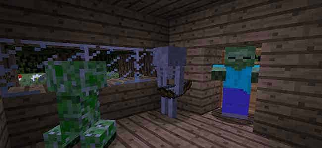 Minecraft mobs in a house