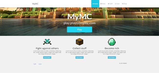 Minecraft Website Example