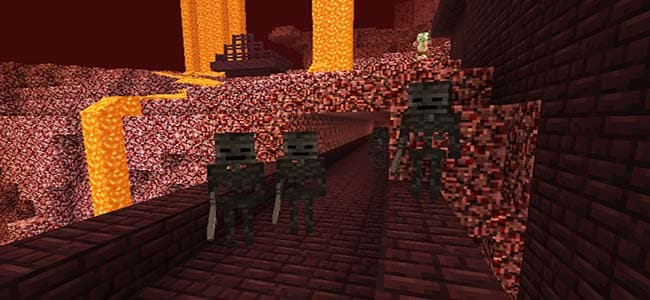 Wither Skeletons Spawn in Nether Fortresses