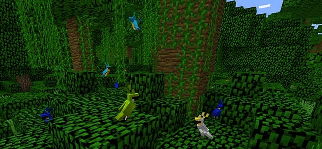 Parrots in a Minecraft Jungle