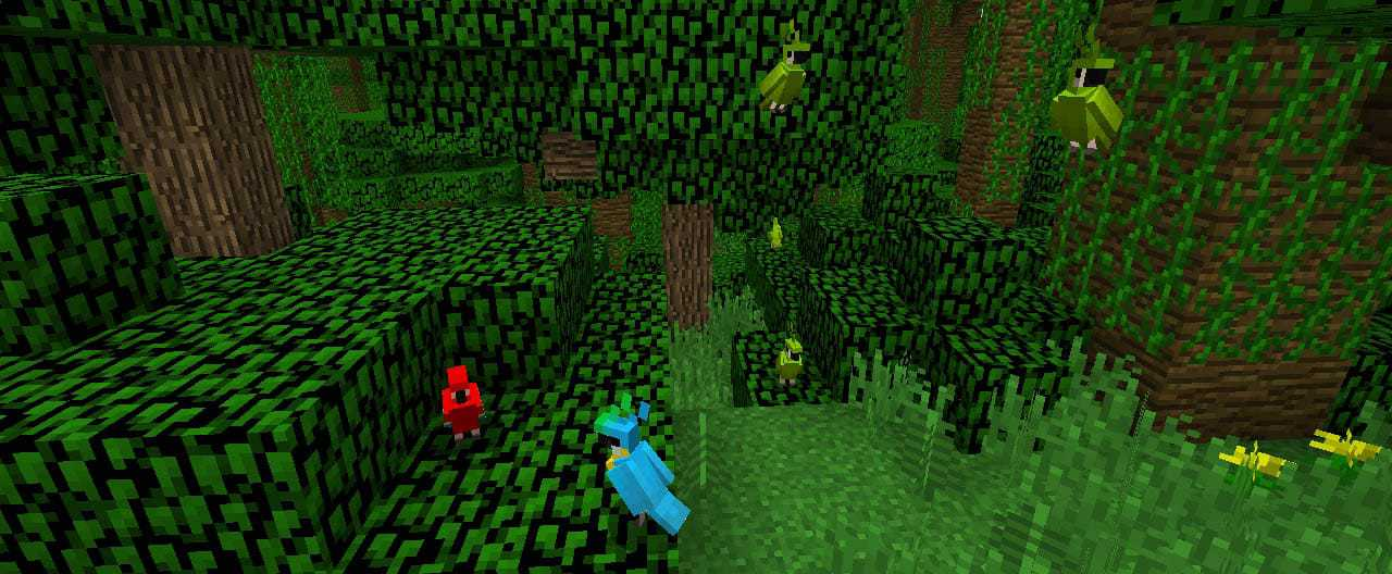 Minecraft Parrots in Forest