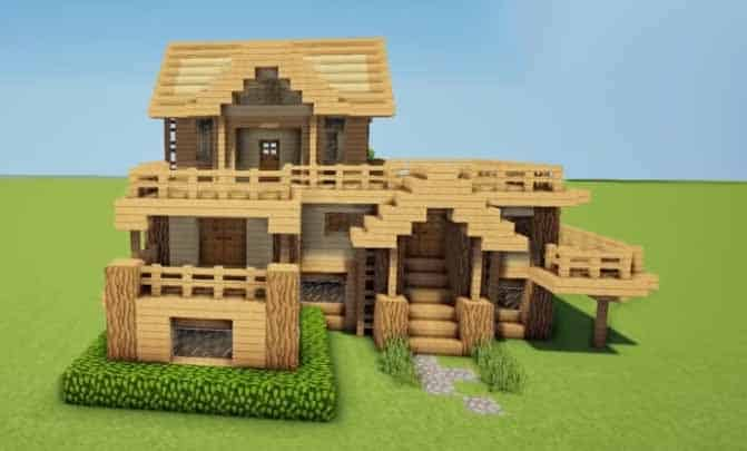 wooden minecraft house multilevel