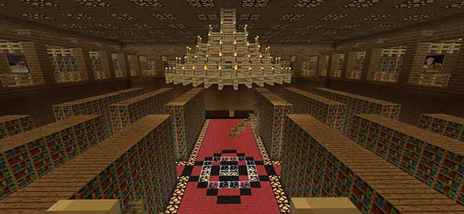 Minecraft Library Tall Ceiling
