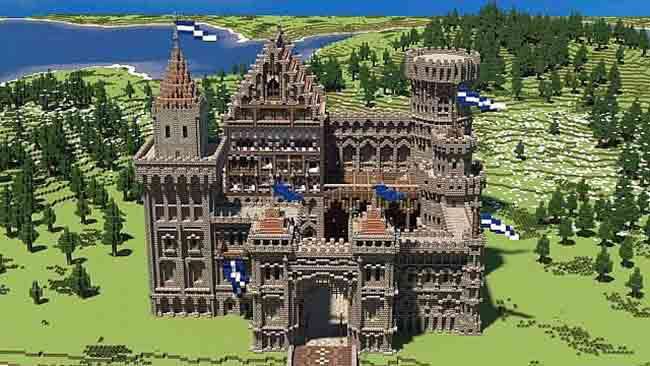 basic medieval castle made in minecraft