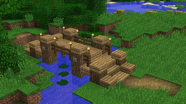 simple wooden minecraft bridge